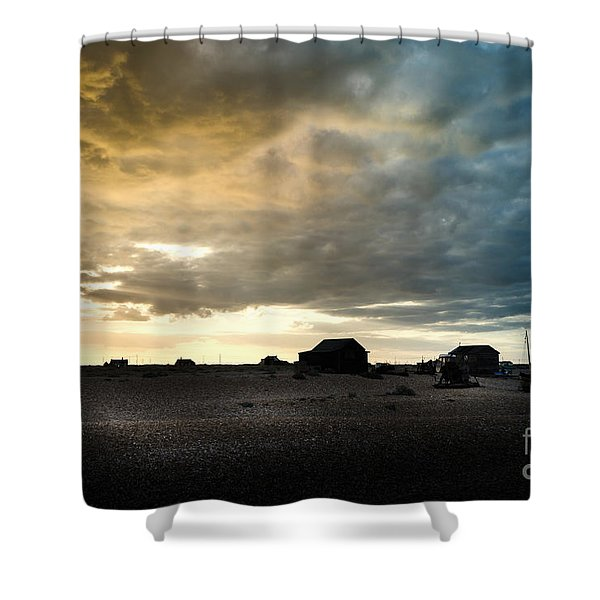 Moody Sky, Dungeness Beach  Shower Curtain