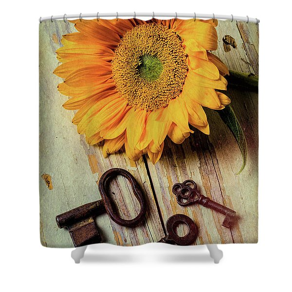 Moody Sunflower With Keys Shower Curtain