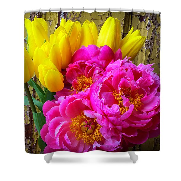 Moody Tulis And Peony's Shower Curtain