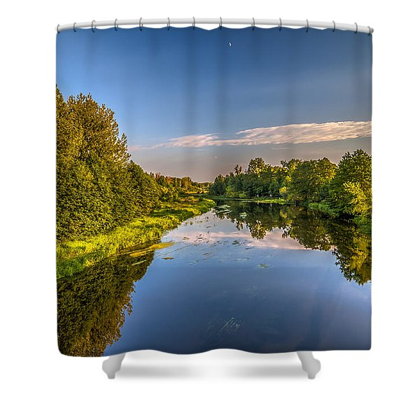 Moon Afternoon Riverscape  Shower Curtain
