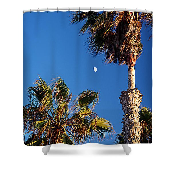 Moon And Palms Shower Curtain