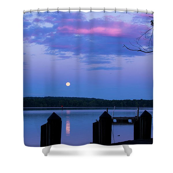 Moon And Pier Shower Curtain