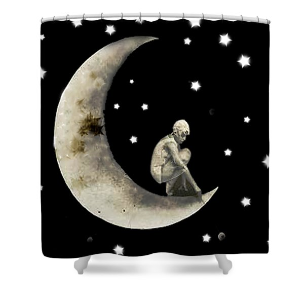 Moon And Stars T Shirt Design Shower Curtain