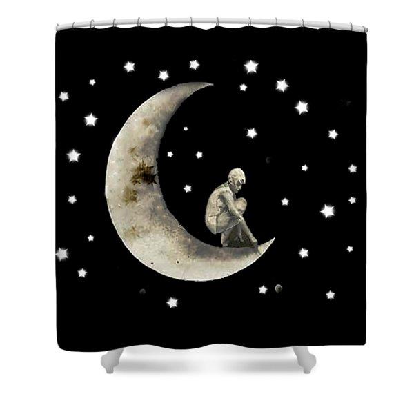 Moon And Stars T Shirt Design Shower Curtain