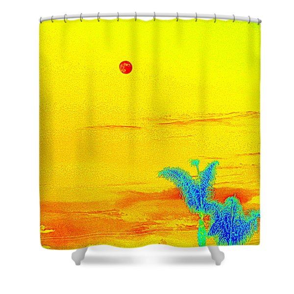 Moon And Two Palms Shower Curtain