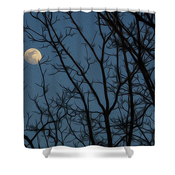 Moon At Dusk Through Trees - Impressionism Shower Curtain