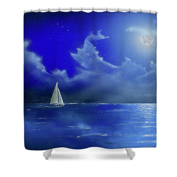 Shower Curtain featuring the painting Moon Light Sail by Mary Scott