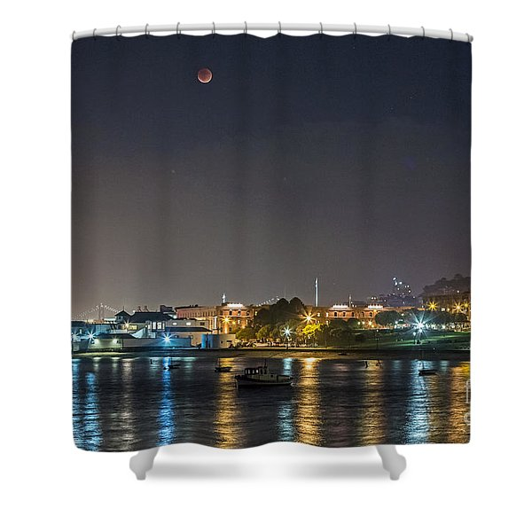 Moon Over Aquatic Park Shower Curtain
