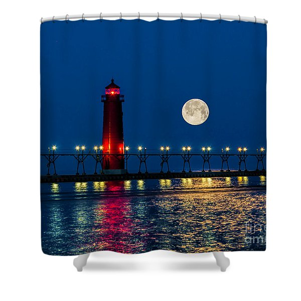 Moon Over Grand Haven Shower Curtain