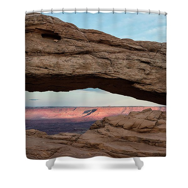 Moon Over Mesa Arch Shower Curtain