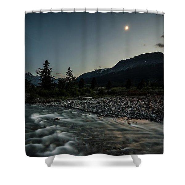 Moon Over Montana Shower Curtain