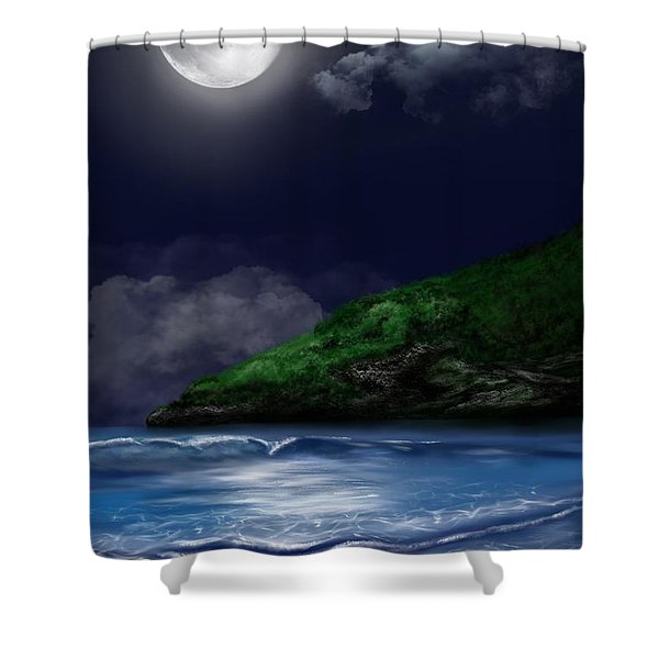 Moon Over The Cove Shower Curtain
