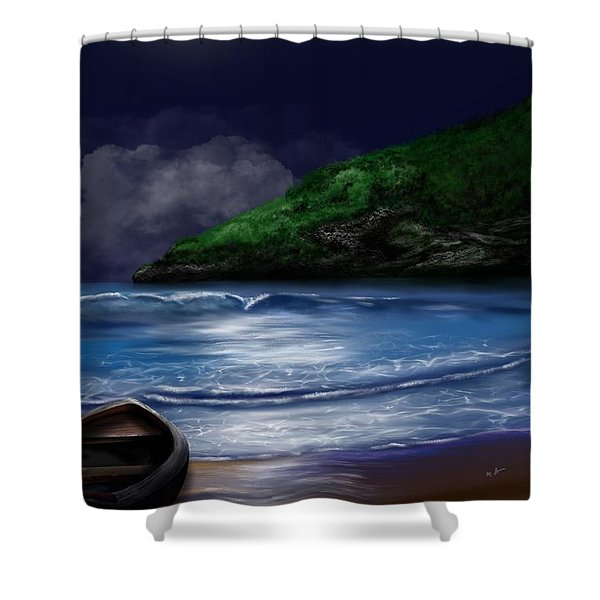Shower Curtain featuring the digital art Moon Over The Cove by Mark Taylor