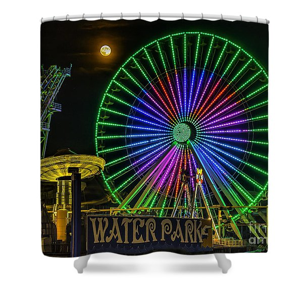 Moon Over The Ferris Wheel Shower Curtain