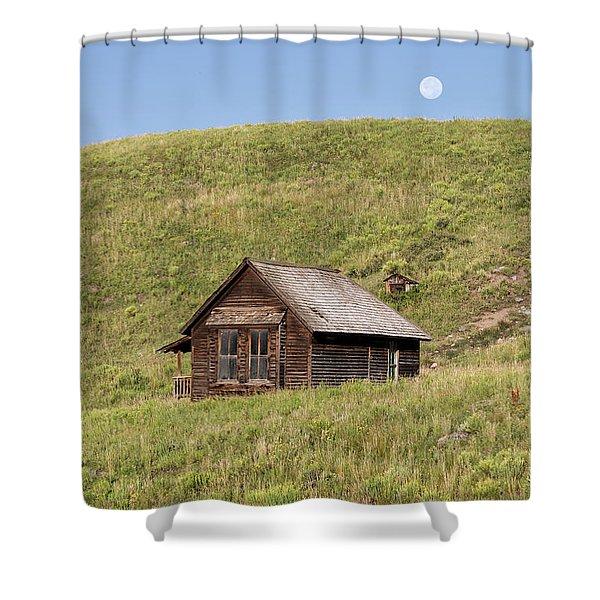Moon Over Tiny House Shower Curtain