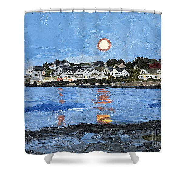 Moon Over York Beach Shower Curtain