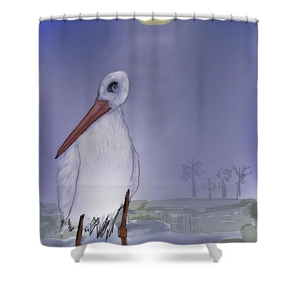 Moon Rise Becomes A Stork Shower Curtain