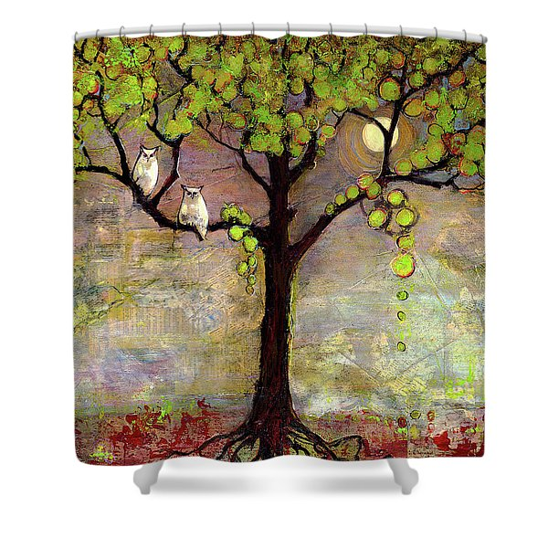 Moon River Tree Owls Art Shower Curtain