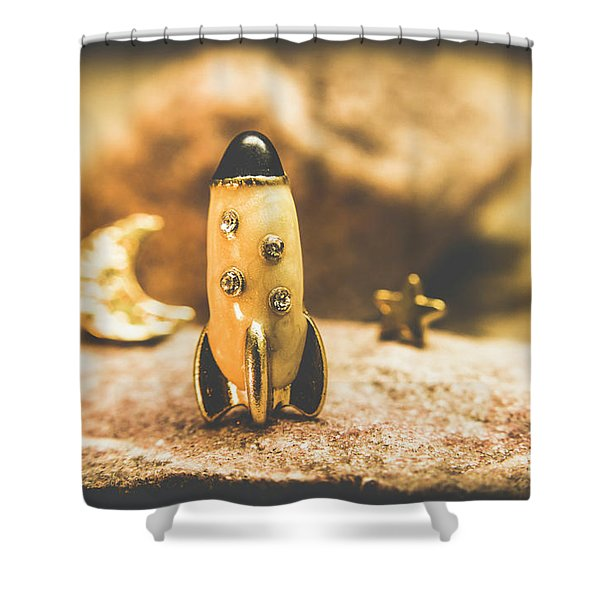 Moon Rocket At Space Station On The Dark Side Shower Curtain