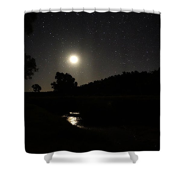 Moon Set Over Palm Valley 2 Shower Curtain