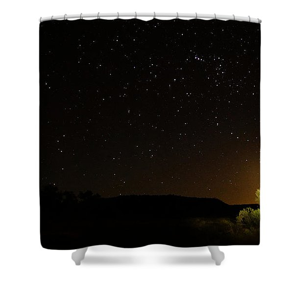 Moon Set Over Palm Valley Shower Curtain