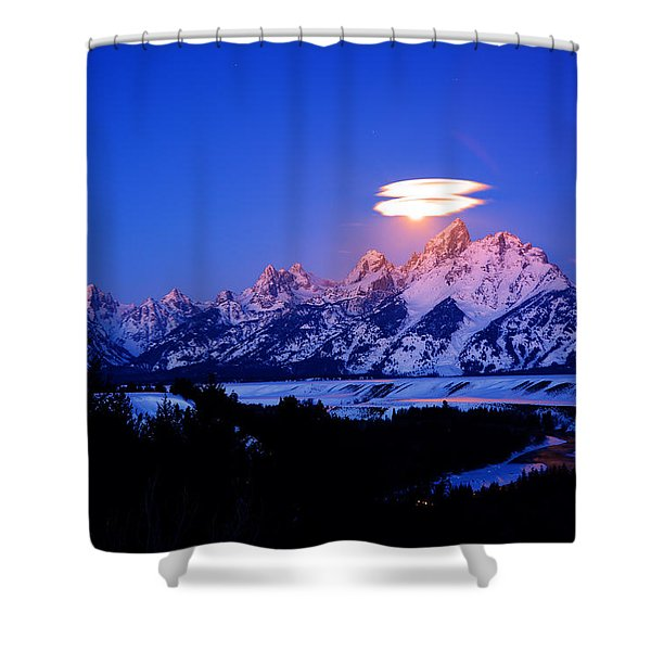Moon Sets At The Snake River Overlook In The Tetons Shower Curtain