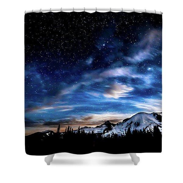 Moon Setting Behind Mt Rainier  Shower Curtain