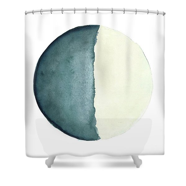 Moon Watercolor Painting, Blue Living Room Decor Solar System Shower Curtain