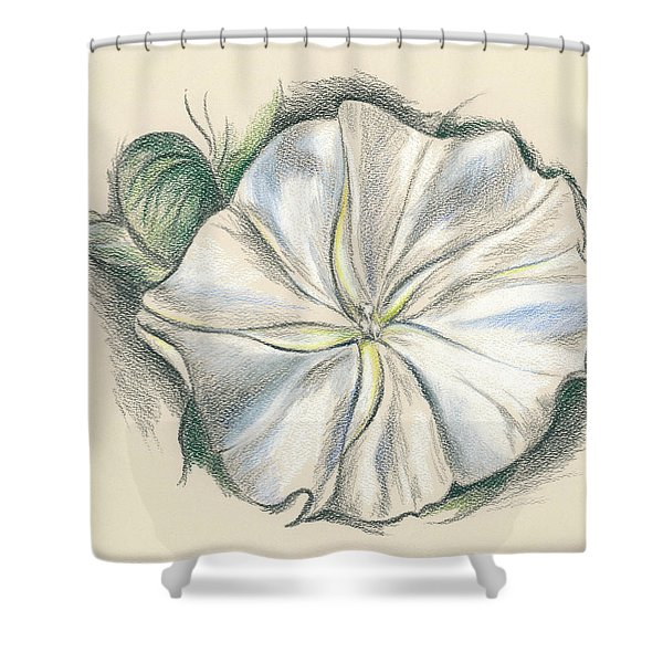 Moonflower Mixed Media Drawing Shower Curtain