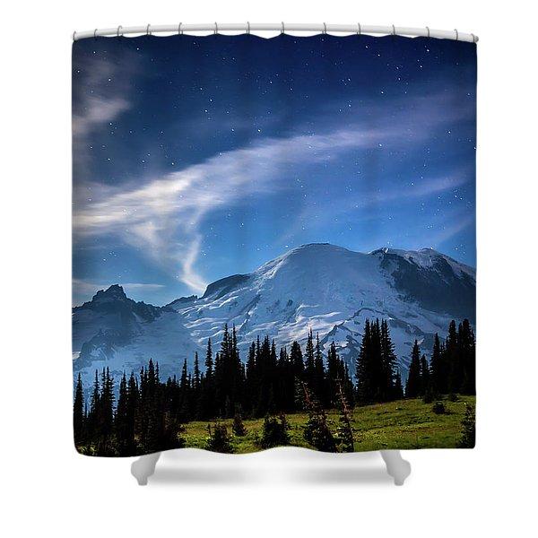 Moonlight On Mt Rainier Shower Curtain