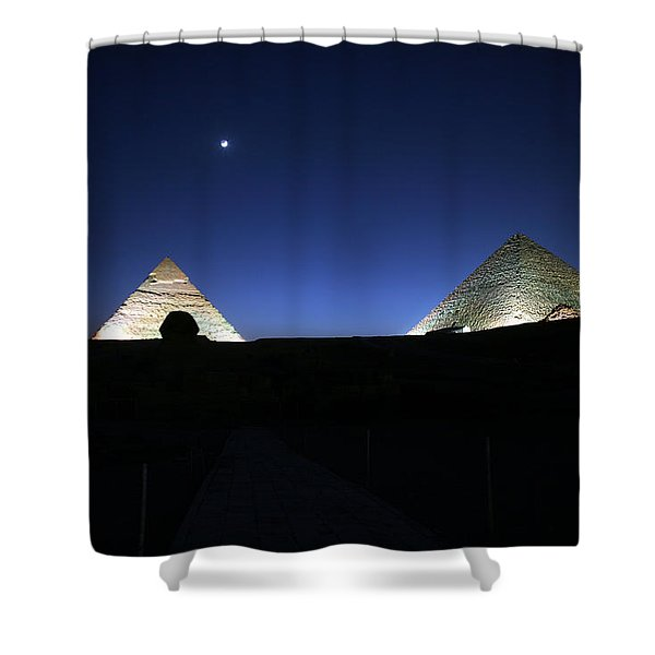 Moonlight Over 3 Pyramids Shower Curtain