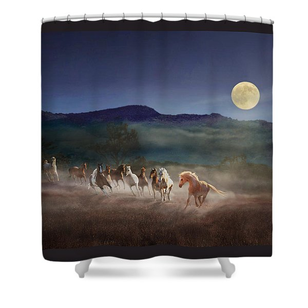 Shower Curtain featuring the photograph Moonlight Run by Melinda Hughes-Berland
