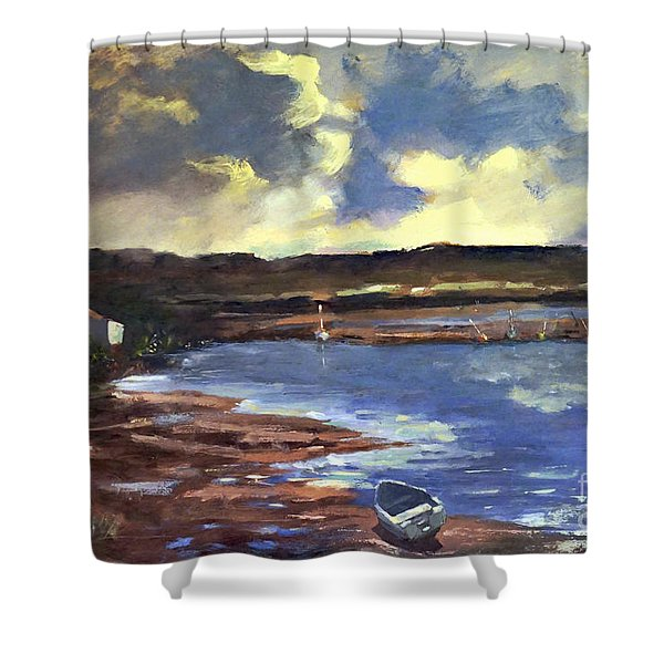 Shower Curtain featuring the painting Moonlit Beach by Genevieve Brown