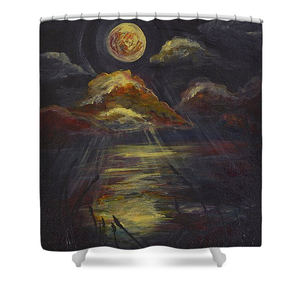 Moonlit Beach Guam Shower Curtain
