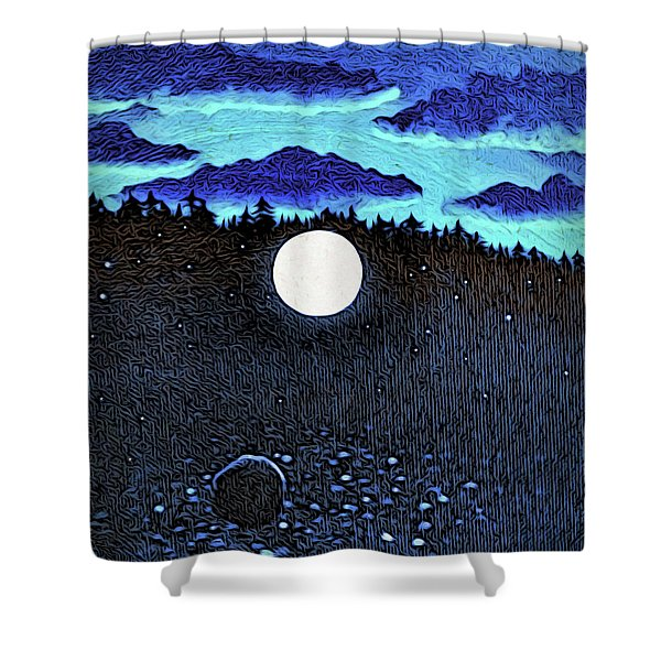 Moonlit Beach Shower Curtain