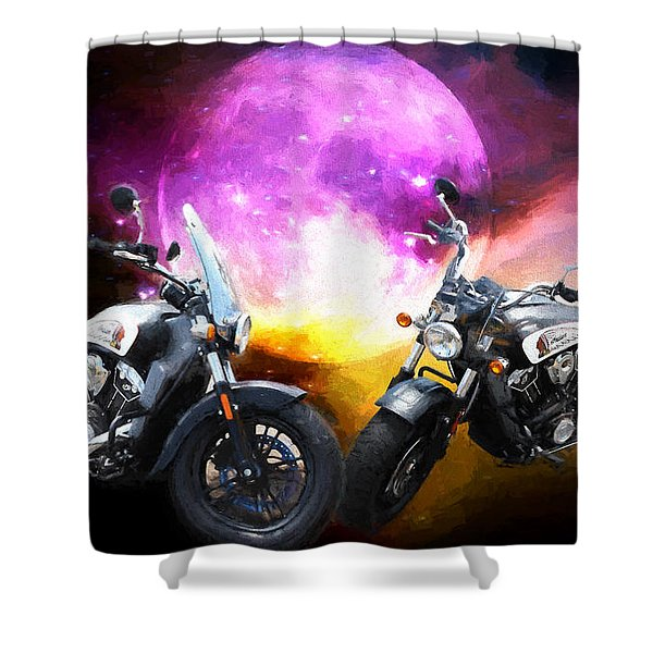 Moonlit Indian Motorcycle Shower Curtain