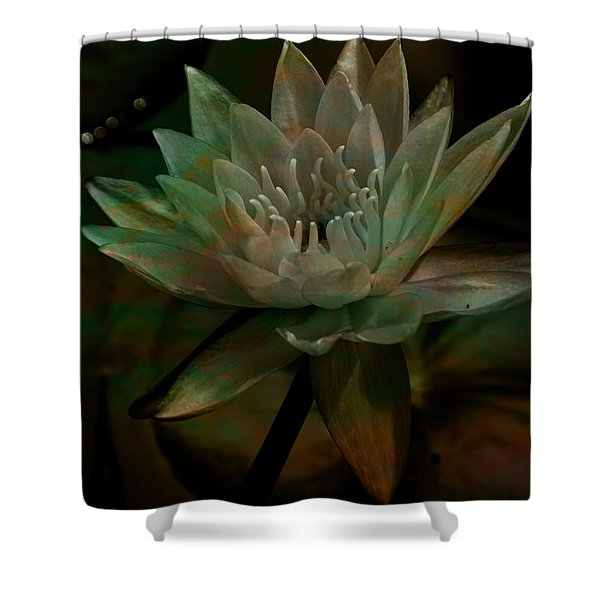 Moonlit Water Lily Shower Curtain