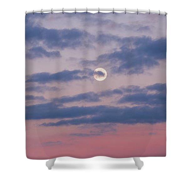 Moonrise In Pink Sky Shower Curtain