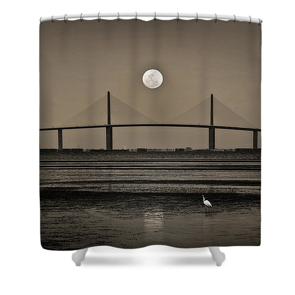 Moonrise Over Skyway Bridge Shower Curtain