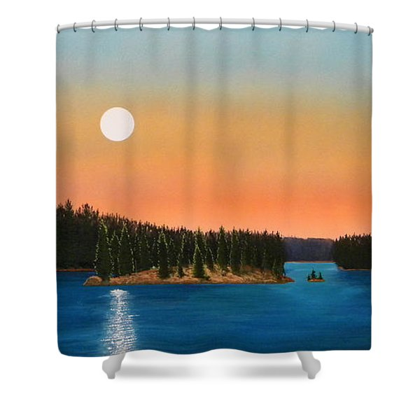 Moonrise Over The Lake Shower Curtain