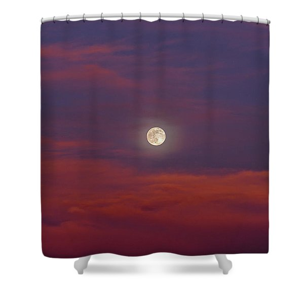 Shower Curtain featuring the photograph Moonrise, Sunset by Jason Coward