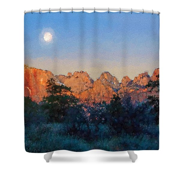 Moonset In Zion Shower Curtain