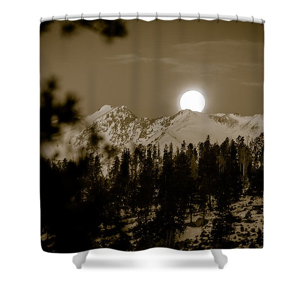 moonset over the Rockies Shower Curtain