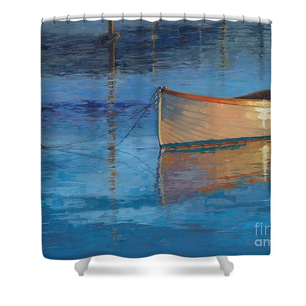 Moored In Light-sold Shower Curtain