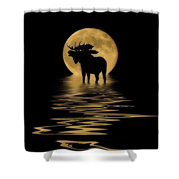 Moose In The Moonlight Shower Curtain
