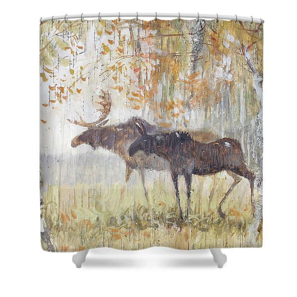 Mooses In The Autumn Woods Shower Curtain