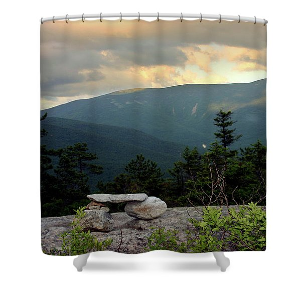 Moosilaukee View From Bench On Blueberry Mt. Shower Curtain
