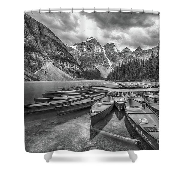 Moraine Lake In Black And White Shower Curtain