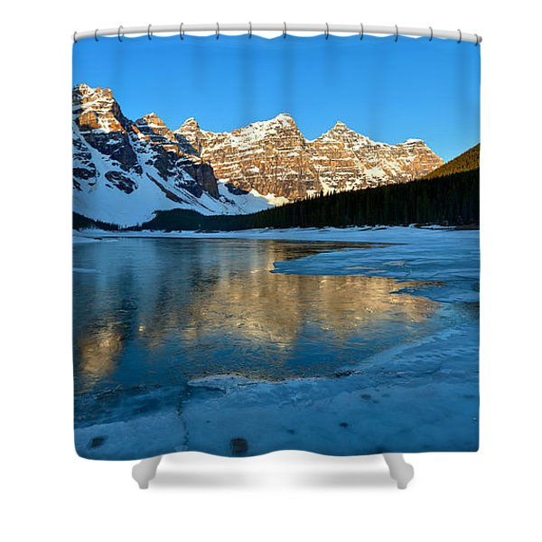 Moraine Lake Spring Sunrise Panorama Shower Curtain