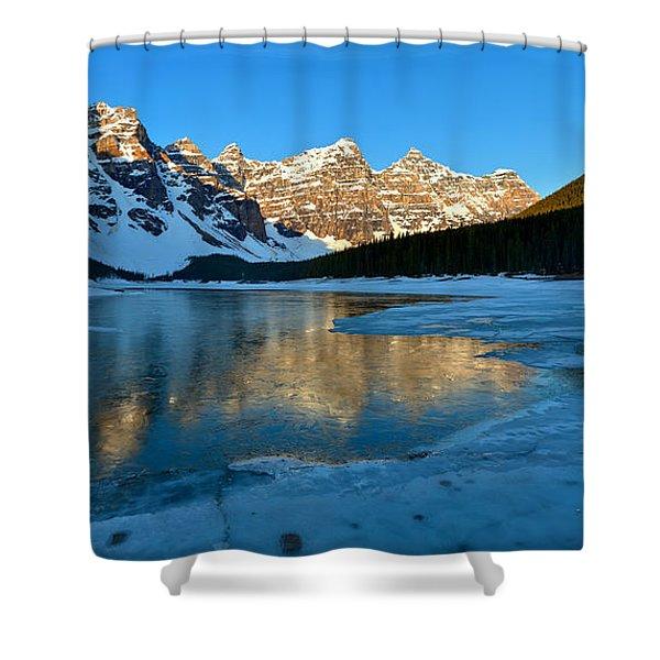 Moraine Lake Spring Sunrise Panorama Shower Curtain